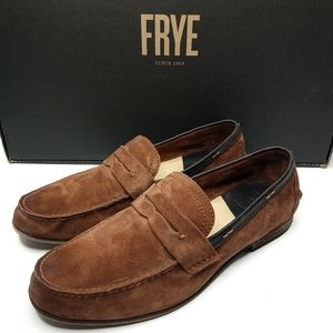 FRYE Lewis Brown Suede Penny Loafers